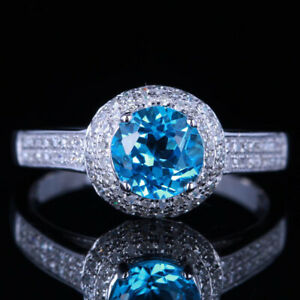 Flawless Blue Topaz 6.5mm Round 10k White Gold Engagement Diamond Ring For Lady