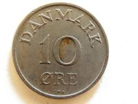 1958 Denmark Ten (10) Ore Coin