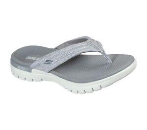 Skechers NEW On The Go Flex Breakaway grey comfort sandals flip flops sizes 3-9