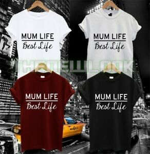 MUM LIFE BEST LIFE T SHIRT FAMILY LOVE MOTHER HUBBY WIFEY VALENTINES FASHION TUM