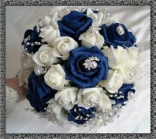 Bridal Posy Bouquet  Navy Blue and Ivory Roses  with crystal flowers