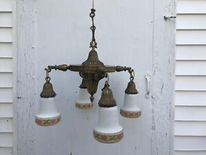 Vintage Art Deco Brass Hanging 4 Light Ornate Pan Ceiling Antique Glass Shades