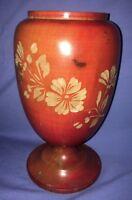 Vtg Carved or Etched Floral Design Wood Jar Or Vase Footed Ovoid Shape Treen