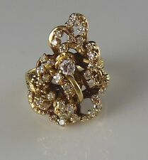 Custom Made Grape Vine Style Size 7.5 Vintage 14K Solid Gold Diamond Nugget Ring