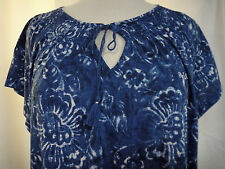 Ralph Lauren Sz 2X  Hawaiian Floral Print Lounge Sleep Shirt Night Gown Smocked