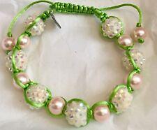 "Divine Nine Inspired aka ""Sisterhood"" Shamballa Styled Bracelet-Pink/Green"