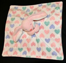 Carter's 2016 Bunny Love Hearts White Pink Lovey Security Blanket Plush Toy EUC!