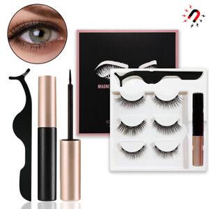 Magnetic Eyelashes Natural Eye liner Lashes Extension Liquid Eyeliner + Tweezer