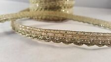 1.2cm- 2 meter Beautiful narrow gold dotted ribbon lace trimming for crafting