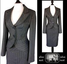 98 Next 8 - 10 40's 50's Vintage pencil skirt suit ladies grey pinstripe womans