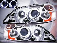 01 02 03 Honda Civic Projector Headlights Chrome Two Halo 2/4D