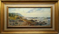 JUSTUS LUNEGARD (SWEDISH) ORIGINAL 19TH C ANTIQUE COASTAL LANDSCAPE OIL PAINTING