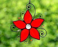 Stained glass red flower suncatcher, windows hanging decor