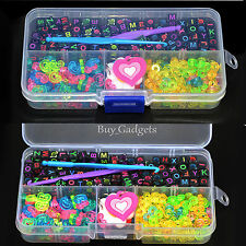 FAI DA TE alfabeto beads+clips+charms+hook+box KIT PER GUAINA elastici