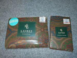 RLL RALPH LAUREN VINTAGE 90'S BRIANNA PAISLEY QUEEN FLAT & 2 CASES SET       J2