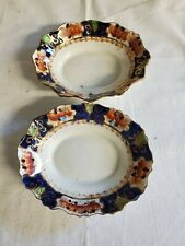 Vintage Royal Stafford China Gold Imari Scalloped Oval Dinner Plates