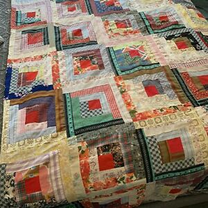 Vintage Quilt Top Log Cabin Scrappy 88x79 Unfinished Quilt Top East Tennessee