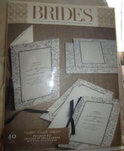 Brides DIY Wedding Programs Invitations Kit Brown Ivory Printable 40 Count