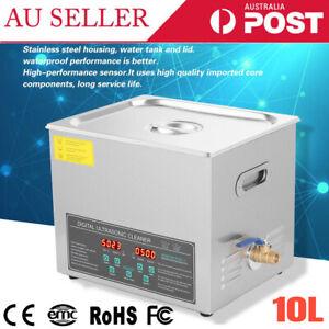 10L Dual Frequency Digital Ultrasonic Cleaner Bath Cleaning Tank Heater Timer AU