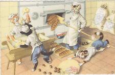 Mainzer Cat Postcard,#4873,Cats in a Bakery,Belgium.1940-50s