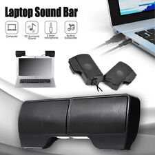 Speakers USB Power Clip-On Computer Stereo Sound Bar 3.5mm for Desktop Laptop PC