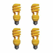 13W Yellow CFL Spiral Bug Light Bulb, 60W Equivalent, Outdoor,  Assorted Sizes