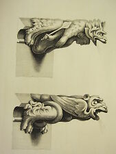 1795 PRINT GOTHIC ORNAMENT YORK MINSTER ~ TWO SPOUTS ~ ROOF NORTH SIDE AISLE