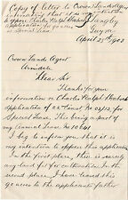 Old 1903 letter GUYRA NSW Australia to Armidale re land lease rejection, nice