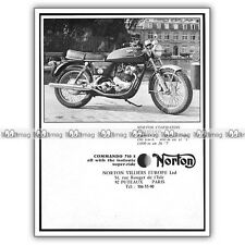 PUB NORTON 750 COMMANDO S - Original Advert / Publicité Moto 1972
