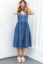 Women's Blue Jeans Denim Maxi Dress Ladies wedding Party Button Beach Sundress