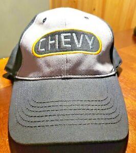 NEW GENERAL MOTORS CHEVY ADJUSTABLE CAP HAT BLACK GRAY YELLOW (2106)
