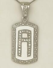 14k WHITE GOLD 2 1/2ct ROUND DIAMOND PAVE LETTER A INITIAL DOG TAG PENDANT 2.62""