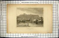 Old Antique Print Engraving Dover Castle Kent England Sea Boats Woolnoth