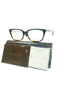 NEW!! GUCCI Eyeglasses Rectangular Frames Grey Havana GG–9084j–8RH 53mm Titanium
