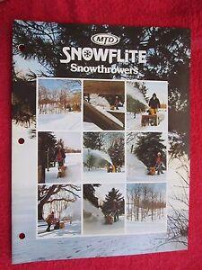 1975 MTD SNOWFLITE SNOW THROWERS BROCHURE
