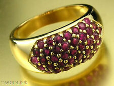 R152 Genuine 9K 9ct Solid Yellow Gold NATURAL Ruby 1.00ct PAVE DOME Ring size N