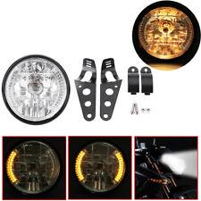 "Motorcycle Black 7""Headlight LED Turn Signal Light For Harley Chopper Cafe Racer"