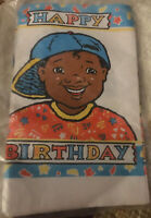 Vtg 1990s Birthday Party Table Cover African American Boy Black ~ DEAD STOCK NIP