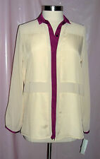 GIBSON LATIMER Sheer Button Down Blouse Size M 8/10 Retail $64 NWT