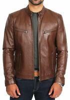 NOORA Men Biker Stylish Collar Jacket Summer 100% Genuine Lambskin Leather NI-6