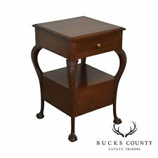 Chippendale Style Antique Custom Mahogany Ball & Claw One Drawer One Door Stand