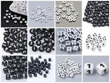 White Black Acrylic Heart Round Square Alphabet Letter Number Beads 6-7mm USA