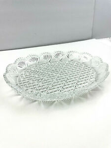 """Crystal Clear Glass Serving Tray Platter 12"""""""