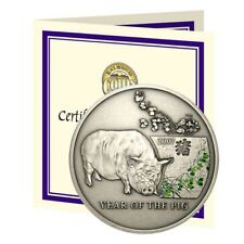 Niue Year Of The Pig 2006 One Dollar Proof Silver Crown With COA