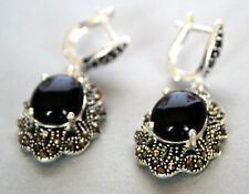 925 sterling silver dangle Earring 1 1/2'' Vintage Black Agate &Marcasite