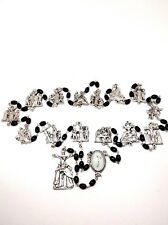 Stations of the Cross Chaplet Via Crucis with Black Glass Beads Metal Stations