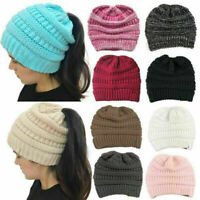 Womens Girls Stretch Knit Hat Messy Bun Ponytail Beanie Warm Hats Winter UK