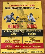 Boxing LARRY HOLMES vs. LEON SPINKS 22x28 Poster 1981 Original Autograph Signed