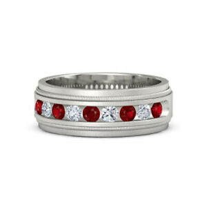 0.6 Ct Diamond Men's Rings Natural Ruby 14K Solid White Milgrain Crown Band S T