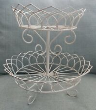 White Metal Wire Shabby Chic 2-Tier Fruit Basket